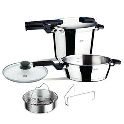 Fissler 6 Pc Vitaquick Pressure Cooker Set, 6.4qt and 2.7qt
