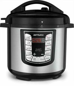 Gourmia - 6-Quart Pressure Cooker - Stainless Steel/Black