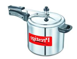 Silver Prestige PRNPC3 Nakshatra Plus 3-Liter Flat Base Aluminum Pressure Cooker for Gas and Induction Stove Small