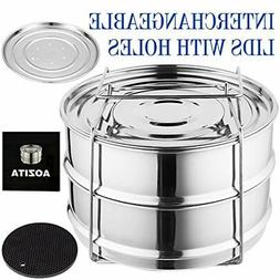 Aozita Stackable 2 Tier Stainless Steel Pressure Cooker Stea