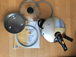 Fagor Duo 6 qt Pressure Cooker BONUS: Glass Lid  and NIB Gas