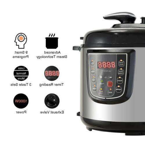 1000W 6-Quart Pressure Cooker 9-in-1 Multi-Functional Slow