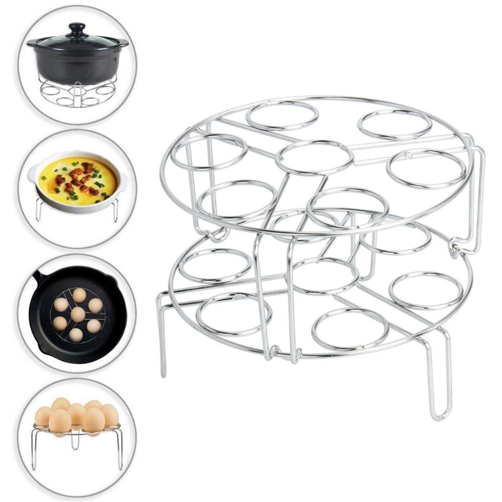 2pcs Steamer Rack <font><b>Pot</b></font> Stackable Pressure <font><b>Cooker</b></font> Stainless Steel Food Basket Stand Steamers