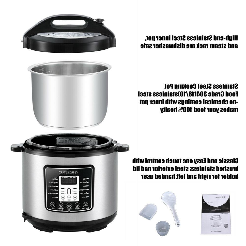 6 Quart Electric Pressure Cooker Stainless Steel
