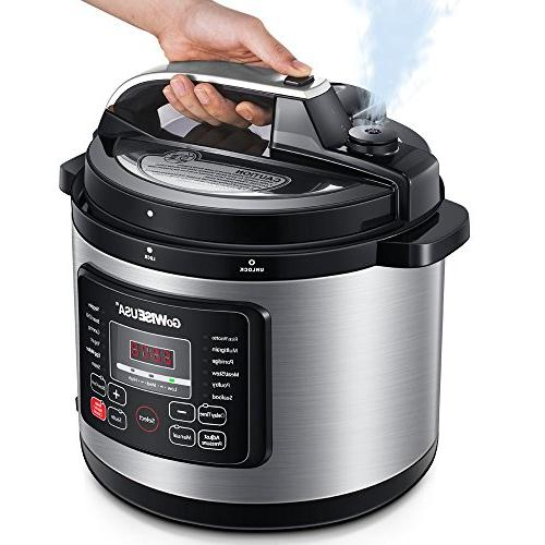 GoWISE USA Electric Pressure Cooker 50 Pressure Cup, Steel and Spoon