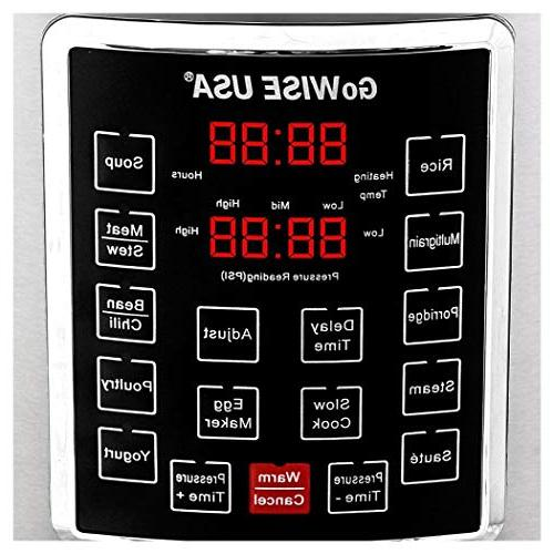 GoWISE USA GW22620 Electric Pressure steam rack, basket, rice measuring cup, QT