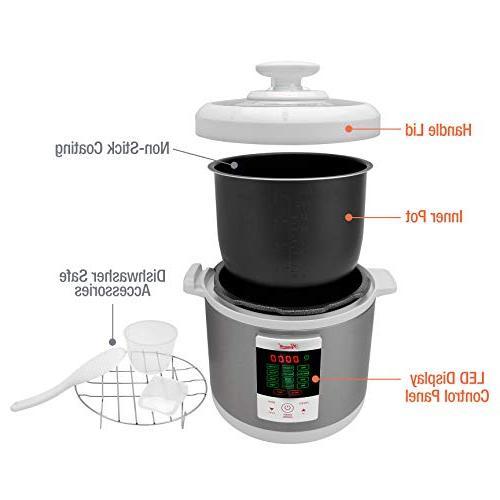 Rosewill Pressure Cooker 6Qt, Instapot Cooker Cooker, Slow Cooker Steamer, Deep Sauté/Browning, Yogurt Maker, Warmer, HotPot RHPC-15001