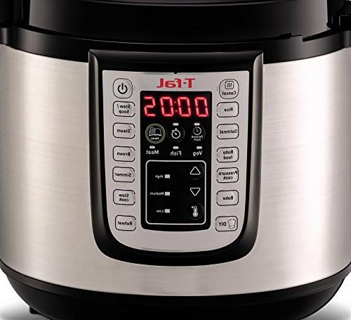 T-fal Pressure Cooker, Fryer, Programmable 25 Programs, 6 Silver