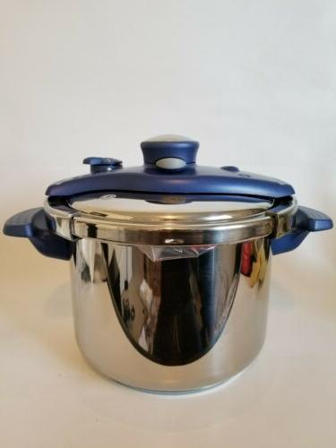 Blue T-FAL 6 Clipso Pressure Infusion Cooker 18-10 France W/Acc's.