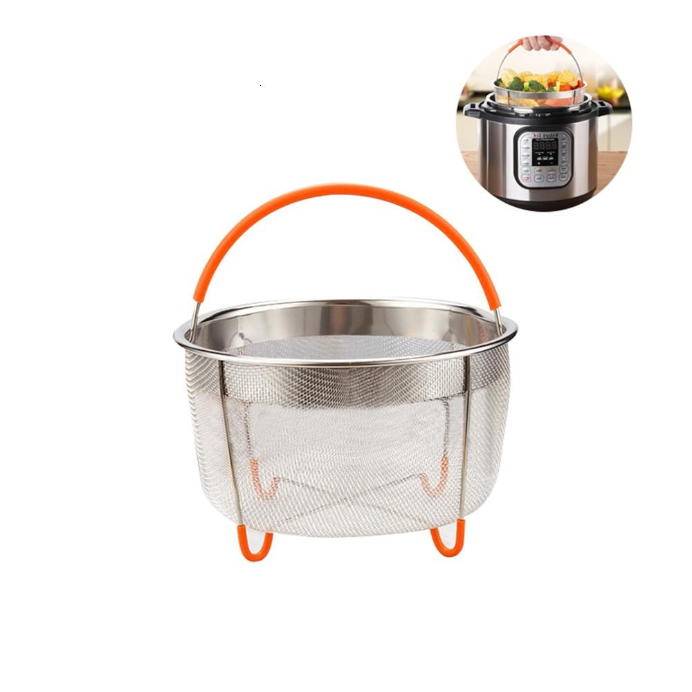 Food Steamer Basket 6 <font><b>Instant</b></font> Stainless Insert with Silicone