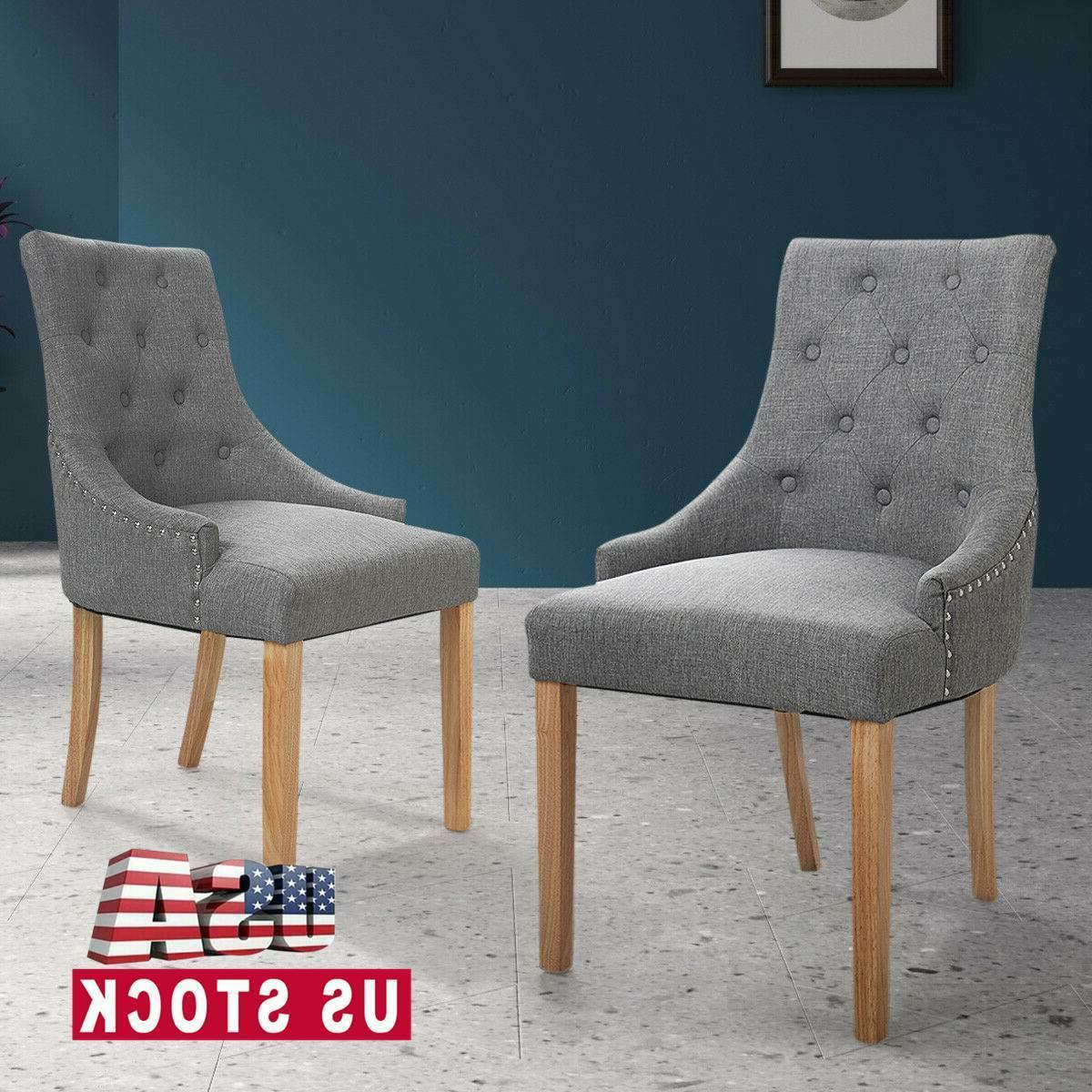 gray tufted modern side dining chairs set