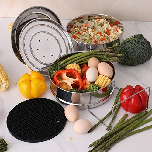 Aozita Stackable Steamer Pans with Sling for Instant Accessories Quart - for in Pot Cooking, Interchangeable Lids Included