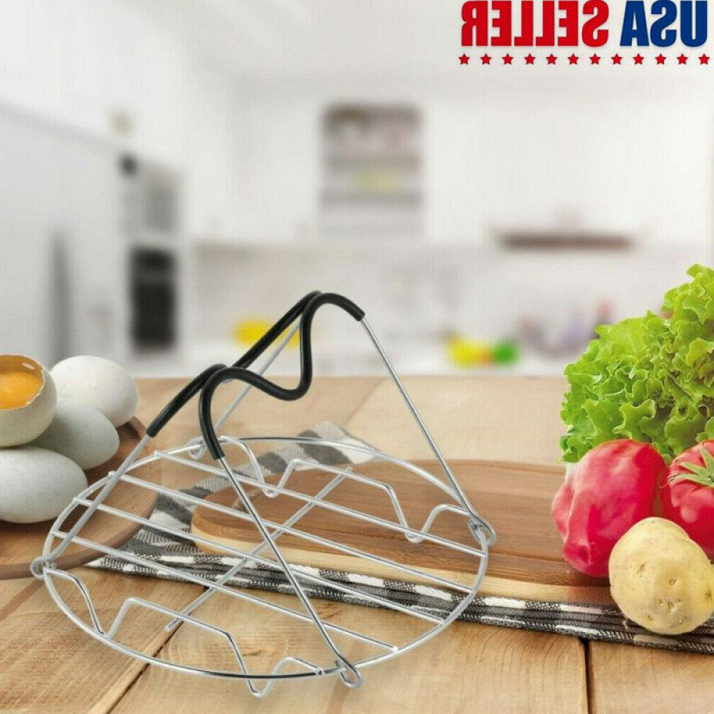 Steaming Rack W/2 Heat Resistant Silicone Handle For Pressur