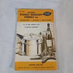 Mirro Matic Speed Pressure Cooker And Manual Recipe Book 197