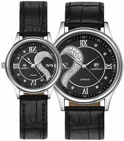 New Romantic Black Pair Fashion Wrist Watches for Couple Men