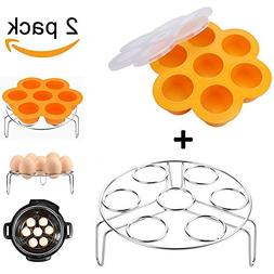 Orange Silicone Egg Bites Molds With Stainless Steel Egg Ste