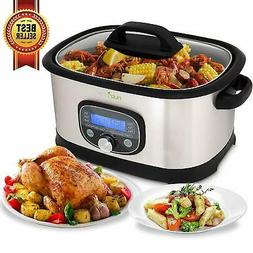 NutriChef Sous Vide Slow Cooker - 11 in 1 Steamer Stainless