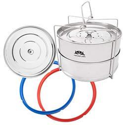 Altis Kitchen Pressure Cooker Steamer Insert Pans Set: 2-Tie