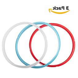 Silicone Sealing Ring, 3 Pack, Savory Sky Blue & Sweet Cherr