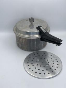 VINTAGE MIRRO- MATIC 6 QUART ALUMINUM PRESSURE COOKER M-0596