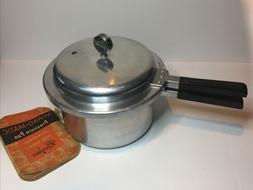 Vtg Mirro-Matic 4 Qt Pressure Cooker 394M w/Manual, Rack, Ga